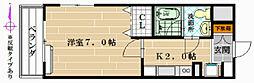 大阪府八尾市南植松町4丁目の賃貸マンションの間取り
