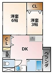 兵庫県西宮市津門川町の賃貸マンションの間取り
