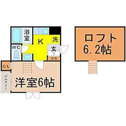 愛知県名古屋市中村区中島町4丁目の賃貸アパートの間取り