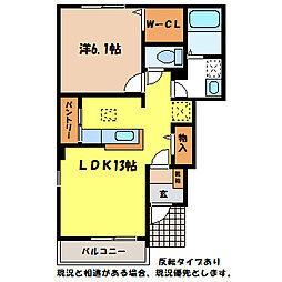 長野県伊那市御園の賃貸アパートの間取り