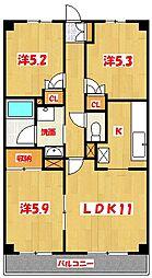 埼玉県越谷市東大沢1丁目の賃貸マンションの間取り