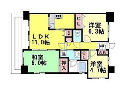 藤和シティホームズ六甲道駅前[7F号室]の間取り