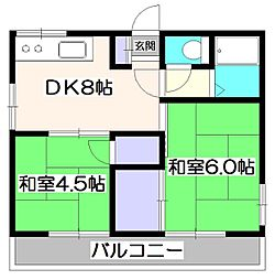 東京都東久留米市幸町3丁目の賃貸アパートの間取り