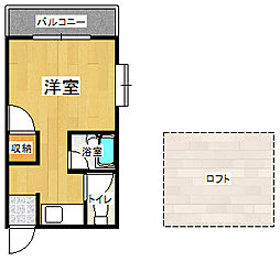 福岡県北九州市小倉北区長浜町の賃貸アパートの間取り