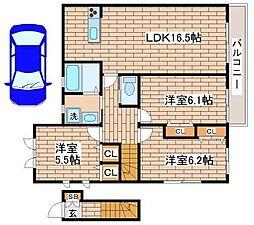 ベルファミーユ若草[2階]の間取り