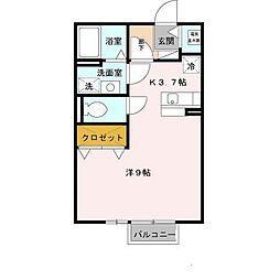 兵庫県姫路市飾磨区都倉1丁目の賃貸アパートの間取り