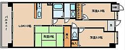 プラザハイツ二ツ屋D棟[2階]の間取り