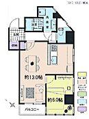 1LDK・専有面積48.21平米・バルコニー面積2.48平米