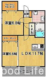 PINE ROSE 福岡東[2階]の間取り