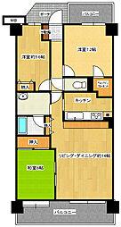 埼玉県北本市東間5丁目の賃貸マンションの間取り