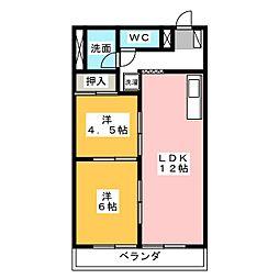 竹林マンション2[208号室]の間取り