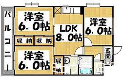 福岡県春日市上白水1丁目の賃貸マンションの間取り
