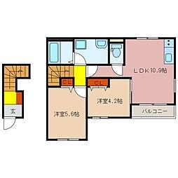 三重県松阪市嬉野野田町の賃貸アパートの間取り