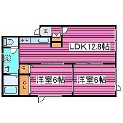 北海道札幌市東区北三十八条東10丁目の賃貸アパートの間取り