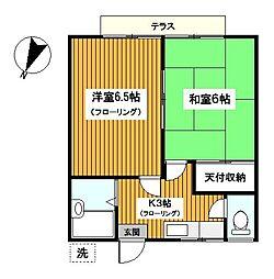 神奈川県横浜市保土ケ谷区上星川2丁目の賃貸アパートの間取り