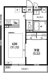 神奈川県大和市上草柳4丁目の賃貸アパートの間取り