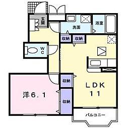 ウエストスクエアA棟(エアコン付き)[1階]の間取り