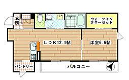 ラ・パーチェ志村坂上 3階1LDKの間取り