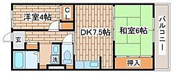 兵庫県神戸市長田区日吉町6丁目の賃貸マンションの間取り