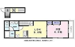 横浜市営地下鉄グリーンライン 中山駅 徒歩15分の賃貸アパート 2階1LDKの間取り
