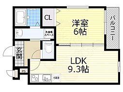 フジパレス瑞光駅東 1階1LDKの間取り