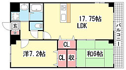 ミルキーウェイ新神戸[302号室]の間取り