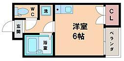 ナニワIII番館 1階ワンルームの間取り