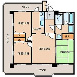 ライオンズマンション諏訪野[2階]の間取り