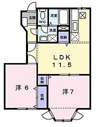 ルメール藤原III番館[1階]の間取り