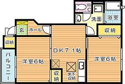 ヴァンティアン中の原 A棟[1階]の間取り