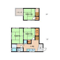 [テラスハウス] 奈良県大和郡山市新中町 の賃貸【/】の間取り