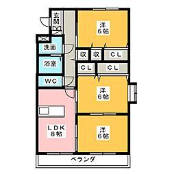 ファームガーデン A[1階]の間取り
