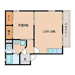 静岡県静岡市葵区平和1丁目の賃貸アパートの間取り