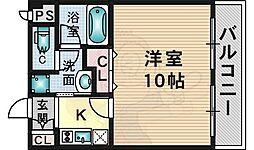 大阪モノレール彩都線 彩都西駅 徒歩12分の賃貸マンション 2階1Kの間取り