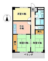 愛知県名古屋市中村区日比津町4丁目の賃貸マンションの間取り