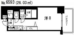 レジュールアッシュ天王寺堂ヶ芝[13階]の間取り