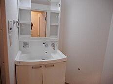 しっかりとした洗面台は水栓がシャワータイプです。