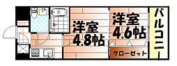 No.47 PROJECT2100小倉駅[908号室]の間取り