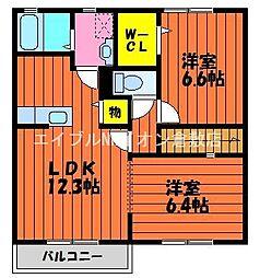 岡山県倉敷市浦田丁目なしの賃貸アパートの間取り
