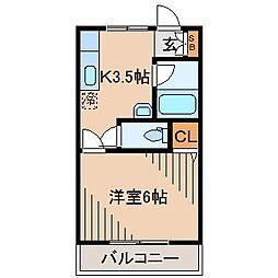 餅田ハイツ[203号室]の間取り