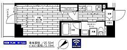 西武新宿線 鷺ノ宮駅 徒歩8分の賃貸マンション 6階1Kの間取り