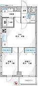 DINKISや3人家族にオススメの2DK。廊下が短く、無駄な空間のない間取りです