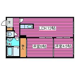 北海道札幌市東区北四十三条東8丁目の賃貸アパートの間取り