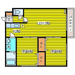 北海道札幌市東区東苗穂十三条3丁目の賃貸アパートの間取り