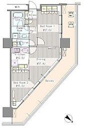 JR総武線 東中野駅 徒歩1分の賃貸マンション 4階2DKの間取り