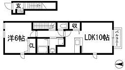 兵庫県伊丹市東野2丁目の賃貸アパートの間取り