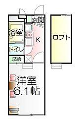 東京都足立区一ツ家1丁目の賃貸アパートの間取り