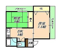 歌敷山グリーンハイツ[3階]の間取り