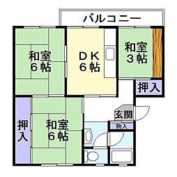 宏和マンション2号館[3階]の間取り