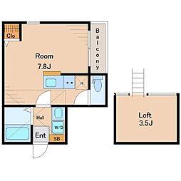 ミライエ大島 3階ワンルームの間取り